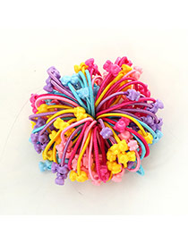 Fashion Multi-color Bear Shape Decorated Color Matching Design Simple Hair Rope(50pcs Randomly)