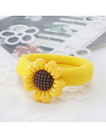 Fashion Yellow Sunflower Decorated Color Matching Simple Hair Rope
