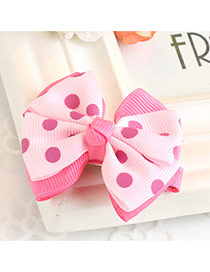 Fashion Pink Dot Decorated Bowknot Design Simple Hair Clip