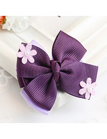 Fashion Purple Flower Decorated Bowknot Design Simple Hair Clip