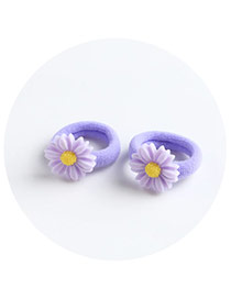 Sweet Purple Chrysanthemum Shape Decorated Pure Color Hair Band(2pcs)