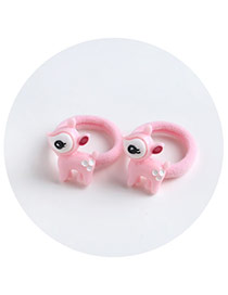 Sweet Pink Cartoon Animal Shape Decorated Pure Color Hair Band(2pcs)