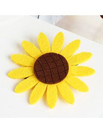 Sweet Yellow Sunflower Shape Decorated Simple Hair Clip