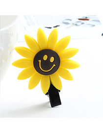 Sweet Yellow Smiling Face Decorated Sunflower Shape Hair Clip