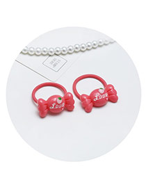 Sweet Red Cartoon Candy Shape Decorated Pure Color Hair Band(2pcs)