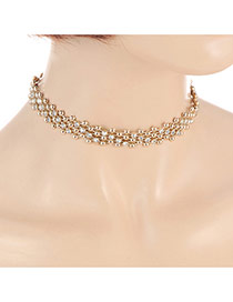 Fashion Gold Color Round Shape Diamond Decorated Hollw Out Design Choker