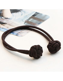 Sweet Coffee Knots Decorated Pure Color Double Layer Simple Hair Band