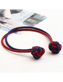 Sweet Claret Red Knots Decorated Pure Color Double Layer Simple Hair Band