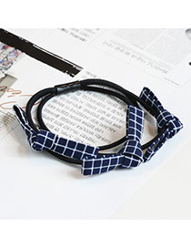 Sweet Navy Grid Decorated Multi-layer Bowknot Design Hair Band