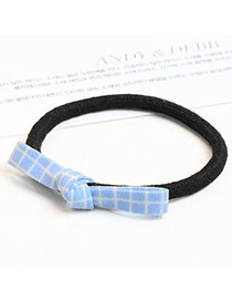 Sweet Blue Grid Decorated Bowknot Design Simple Hair Band