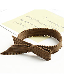 Trendy Coffee Pure Color Decorated Bowknot Shape Simple Hair Band
