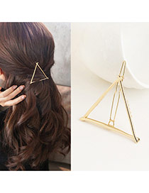 Trendy Gold Color Triangle Shape Decorated Hollow Out Dewsign Simple Hair Pin