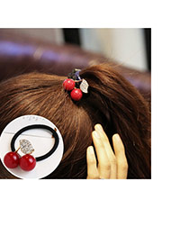 Trendy Red Diamond&pearl Decorated Cherry Shape Design Hair Band