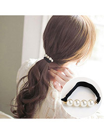 Trendy Gray Pearls Decorated Color Matching Simple Hair Band