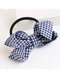 Trendy Light Yellow Grid Pattern Decorated Bowknot Design Hair Band
