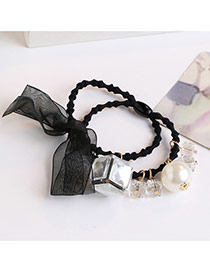 Trendy Champagne Square Shape Diamond Decorated Double Layer Hair Band