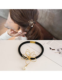 Trendy Yellow Pearl Pendant Decorated Hollow Out Flower Hair Band