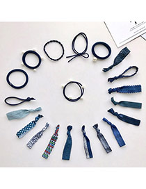 Trendy Navy Pearls Decorated Color Matching Design Simple Hair Band (20pcs)