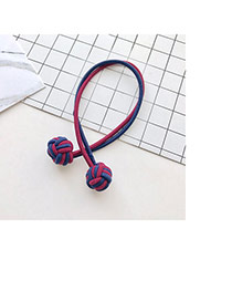 Fashion Navy+claret Red Knots Decorated Color Matching Double Layer Hair Band