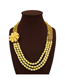 Fashion Yellow Flower Decorated Pure Color Design Multi-layer Necklace