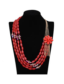 Fashion Red Flower Decorated Pure Color Design Multi-layer Necklace