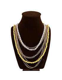 Exaggerated Yellow Beads Decorated Color Matching Design Multi-layer Necklace