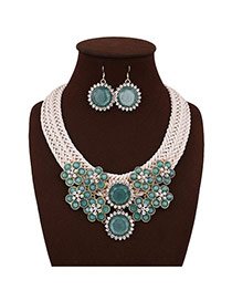 Fashion Green Diamond Decorated Flower Shape Design Color Matching Jewelry Sets