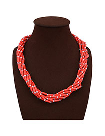 Trendy Red Pearls&beads Decorated Pure Color Design Multi-layer Necklace