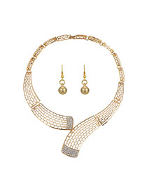 Fashion Gold Color Diamond Decorated Pure Color Hollow Out Design Jewelry Sets