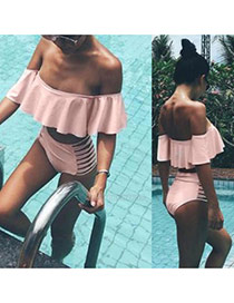 Fashion Pink Pure Color Decorated Off Shoulder Lotus Leaf Design Swimwear