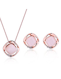 Fashion Rose Gold Sqaure Shape Diamond Decorated Hollow Out Jewelry Sets