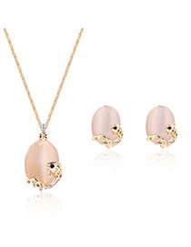 Fashion Rose Gold Oval Shape Diamond Decorated Fish Shape Design Jewelry Sets