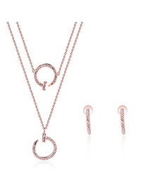 Fashion Rose Gold Nail Pendant Decorated Double Layer Simple Jewelry Sets