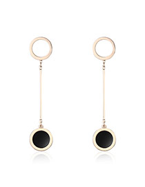 Fashion Gold Color Round Shape Pendant Decorated Color Matching Simple Earrings