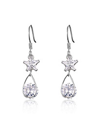 Fashion Silver Color Star Decorated Pure Color Hollow Out Earrings