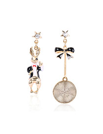 Fashion White Rabbit Pendant Decorated Asymmetric Design Earrings