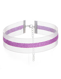 Fashion Purple Color Matching Decorated Simple Width Choker