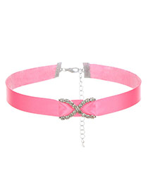 Fashion Pink Diamond Decorated Pure Color Cross Design Choker