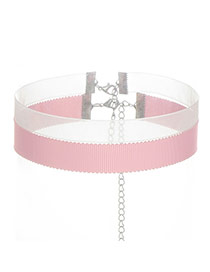 Fashion Pink Color Matching Decorated Double Layer Design Choker