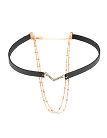 Trendy Black Diamond Decorated V Shape Multi-layer Simple Choker