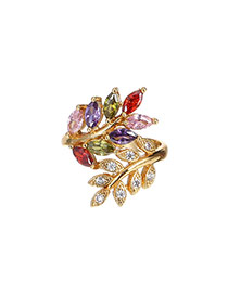Fashion Multi-color Water Drop Shape Diamond Decorated Leaf Shape Ring