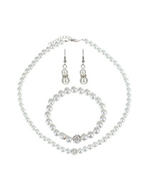 Fashion Milk White Pearls Decorated Pure Color Design Jewelry Sets (3pcs)