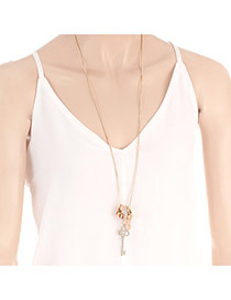 Fashion Gold Color Key^ring Pendant Decorated Pure Color Necklace