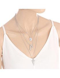 Fashion Silver Color Arrow Shape Pendant Decorated Multi-layer Design Necklace