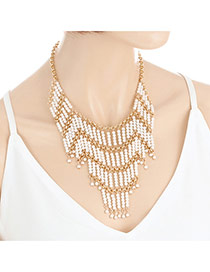 Fashion Milk White Pearls Decorated Multi-layer Design Simple Necklace