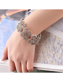 Fashion Silver Color Flower Decorated Hollow Out Pure Color Bracelet