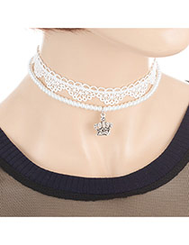 Fashion White Crown Pendant Decorated Double Layer Design Choker