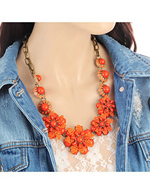 Fashion Orange Flower Decorated Pure Color Simple Necklace
