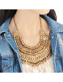 Fashion Gold Color Tassel Pendant Decorated Hollow Out Simple Necklace