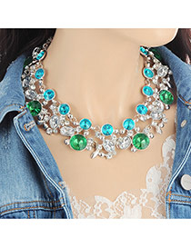 Fashion Multi-color Oval Shape Diamond Ddecorated Hollow Out Necklace